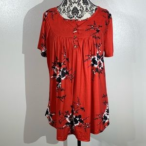 Leo Rosi Cherry Blossom Floral Red Blouse - XL